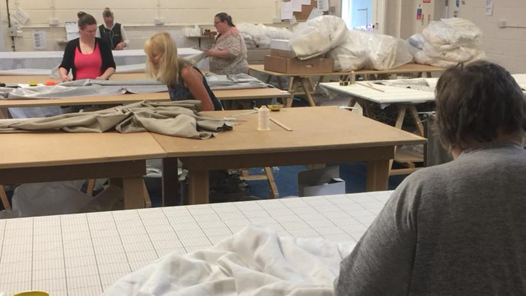 Our curtain makers in our Norfolk workroom- Distinctive Makers